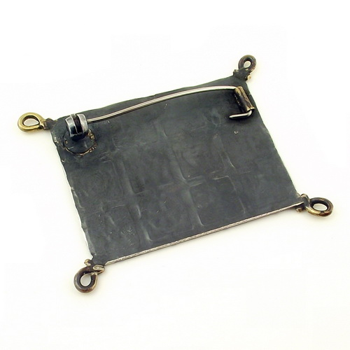 Rectangular Oxidised Silver Brooch